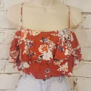 🍁Bongo Bandeau Crop Top Burnt Orange Floral sz XL